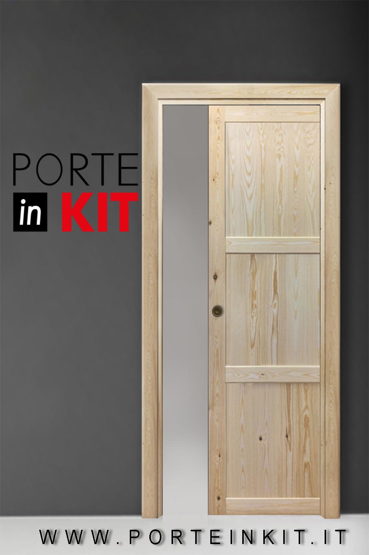 Porte Grezze : Porta interna in legno Massello di Pino apertura DX ...